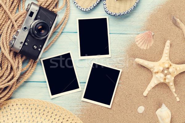 Viaje vacaciones foto marcos mesa de madera superior Foto stock © karandaev