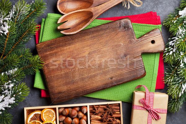 Karácsonyi étel dekoráció főzés kellékek karácsony asztal Stock fotó © karandaev