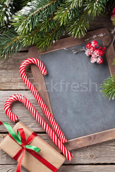 Weihnachten Geschenkbox candy Zuckerrohr Schnee Stock foto © karandaev