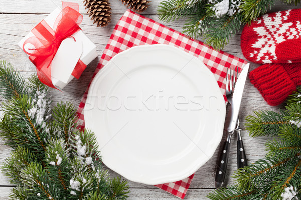 Christmas tafel geschenkdoos top Stockfoto © karandaev
