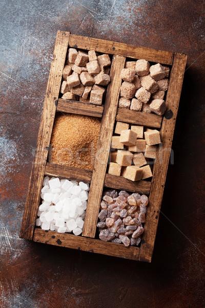 Marrón blanco azúcar cuadro Foto stock © karandaev