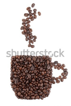 ストックフォト: コーヒーカップ · 豆 · 孤立した · 白 · 食品 · コーヒー