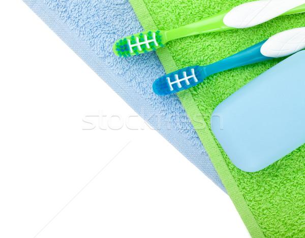 Sabão toalhas beleza verde grupo Foto stock © karandaev
