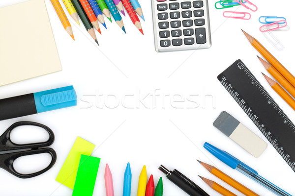 Okul ofis araçları yalıtılmış beyaz kalem Stok fotoğraf © karandaev