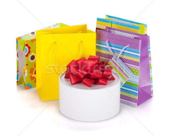 Stockfoto: Gekleurd · geschenk · zakken · vak · geïsoleerd · witte