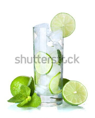 Fresh lime, mint and ice cubes Stock photo © karandaev