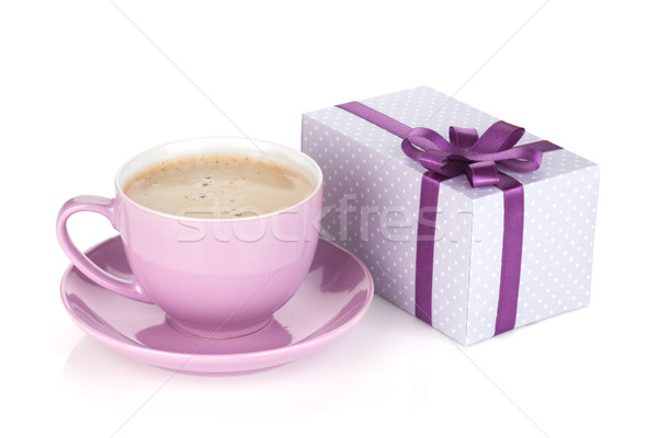 Purple coffee cup and gift box Stock photo © karandaev