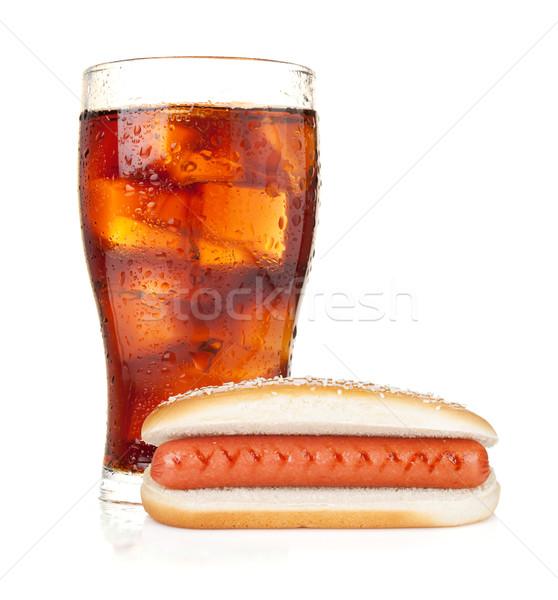стекла Cola льда Hot Dog изолированный белый Сток-фото © karandaev