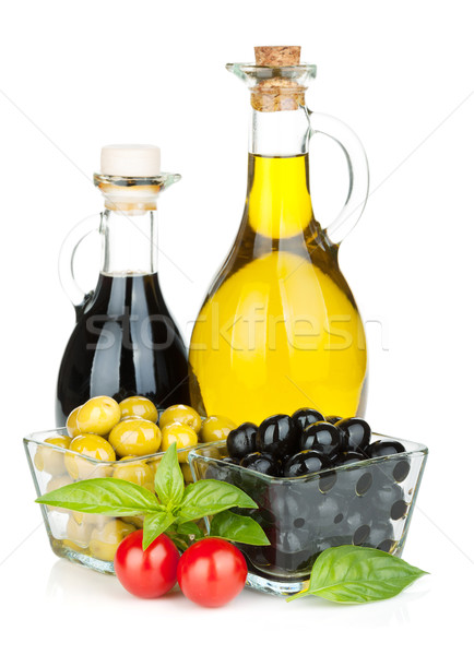 Olives, tomatoes, herbs and condiments Stock photo © karandaev