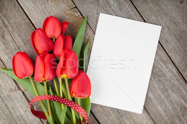 Taze lale buket boş kart bo ahşap masa Stok fotoğraf © karandaev