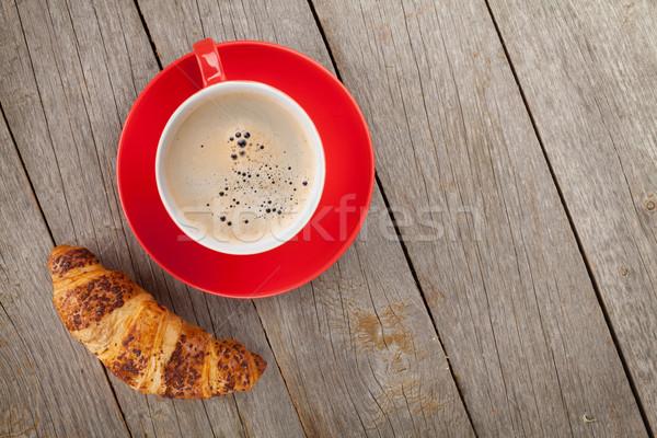 Кубок кофе свежие круассан деревянный стол копия пространства Сток-фото © karandaev