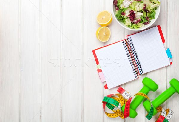 Meetlint gezonde voeding notepad exemplaar ruimte fitness gezondheid Stockfoto © karandaev