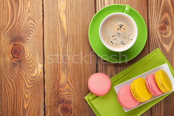 Colorful macaron cookies and cup of coffee Stock photo © karandaev