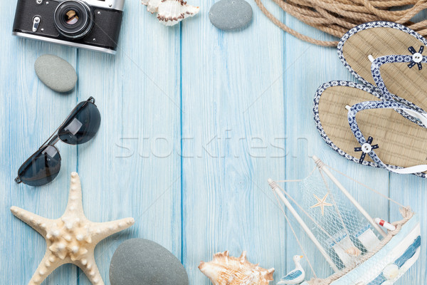 Stock photo: Travel and vacation items on wooden table