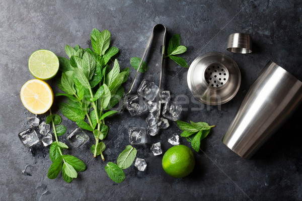 Mojito cocktail making Stock photo © karandaev