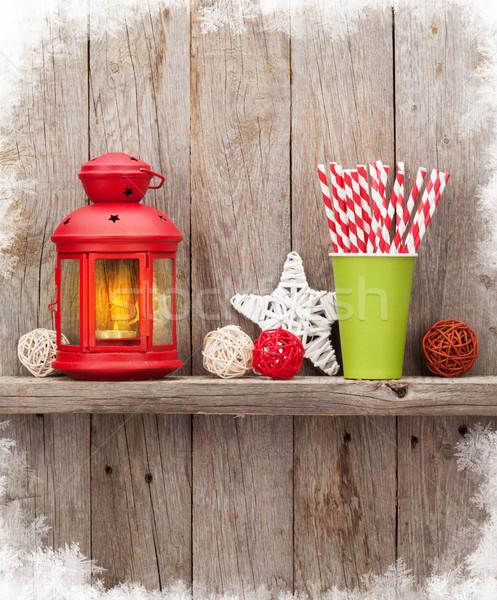 Christmas candle lantern and decor Stock photo © karandaev