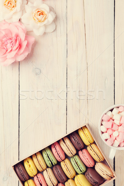 Colorful macaroons in a box and marshmallow Stock photo © karandaev
