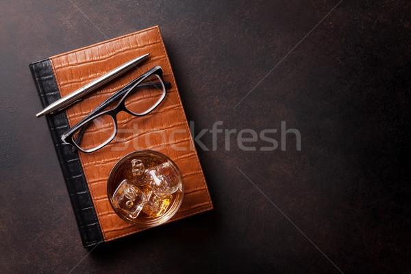 Stock fotó: Whiskey · jég · irodaszerek · üzlet · felső · kilátás