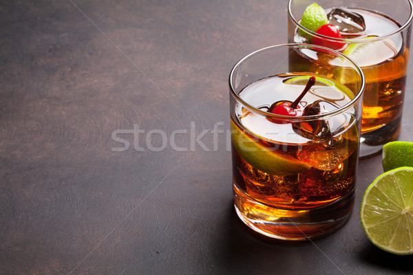 Cuba libre cocktail glasses Stock photo © karandaev