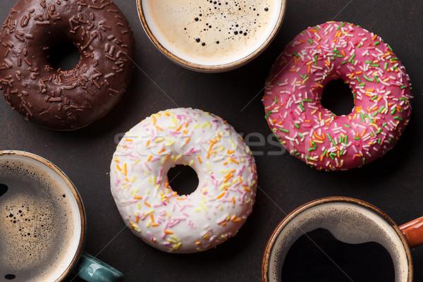 Kahve fincanları renkli taş tablo üst Stok fotoğraf © karandaev