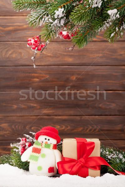 Noel tebrik kartı noel ağaç kardan adam oyuncak Stok fotoğraf © karandaev
