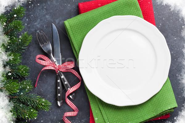 Christmas dinner plate, silverware, fir tree Stock photo © karandaev