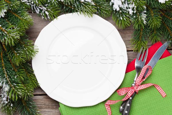 Stock fotó: Karácsony · vacsora · tányér · ezüst · étkészlet · fenyőfa · felső