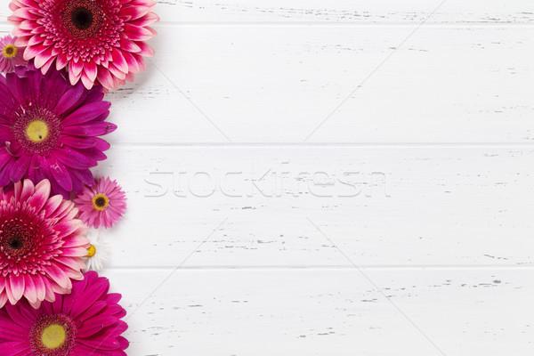 Сток-фото: цветы · букет · деревянный · стол · Top · мнение · пространстве