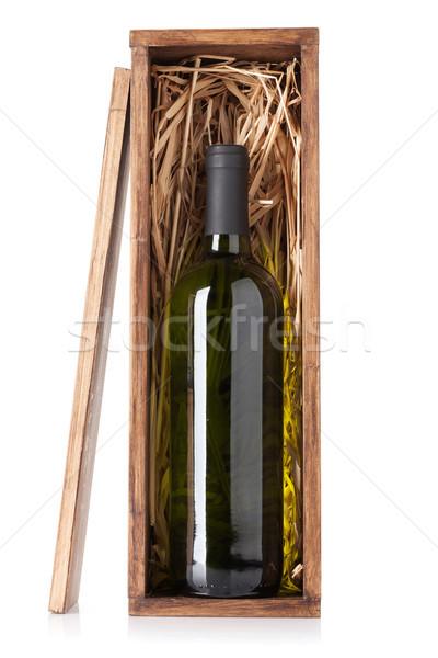 Botella de vino blanco cuadro aislado blanco bar botella Foto stock © karandaev
