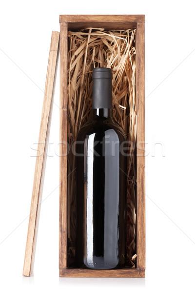 Vino rosso bottiglia finestra isolato bianco bar Foto d'archivio © karandaev