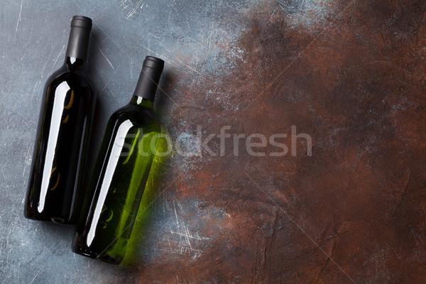 Rosso vino bianco bottiglie top view spazio Foto d'archivio © karandaev