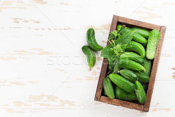 świeże ogród ogórki gotowania tabeli górę Zdjęcia stock © karandaev