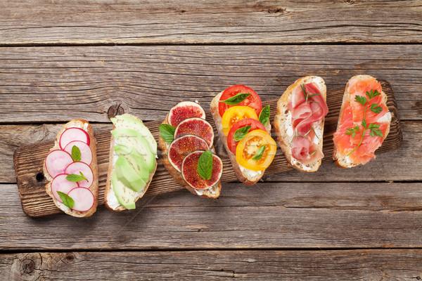 Spaans tapas ingesteld traditioneel voorgerechten Italiaans Stockfoto © karandaev