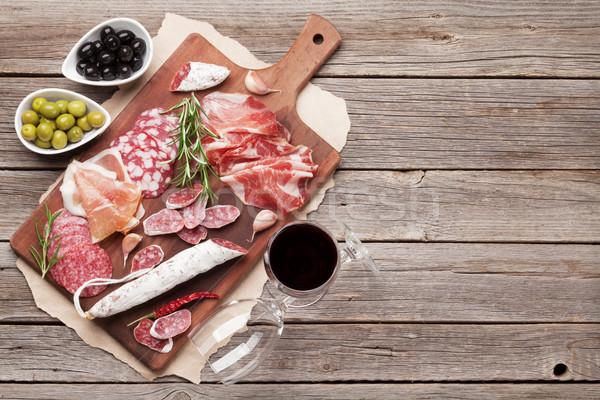 Salame prosciutto salsiccia prosciutto vino Foto d'archivio © karandaev