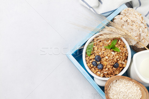健康 朝食 セット ミューズリー 液果類 ミルク ストックフォト © karandaev