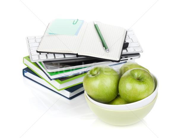 緑 リンゴ 事務用品 孤立した 白 ストックフォト © karandaev