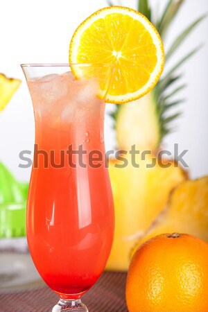 Rood cocktail oranje ijs orange slice bar Stockfoto © karandaev