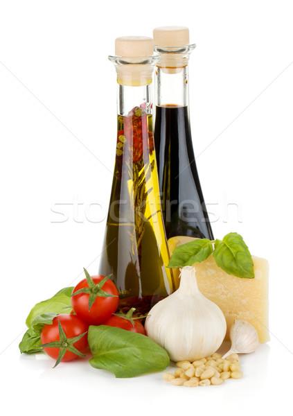Stok fotoğraf: Domates · fesleğen · zeytinyağı · sirke · sarımsak · parmesan · peyniri