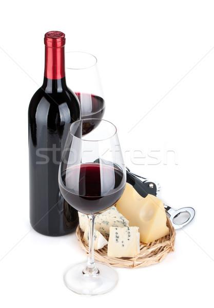 Stockfoto: Rode · wijn · kaas · geïsoleerd · witte · blad · vruchten