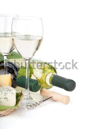 Vino tinto botella vacío gafas aislado blanco Foto stock © karandaev