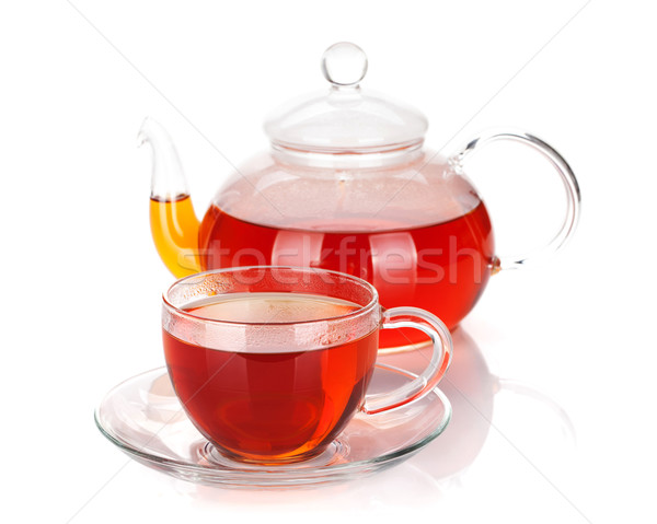 Glas theepot beker zwarte thee geïsoleerd Stockfoto © karandaev