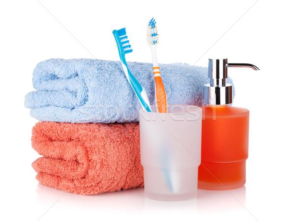 Stockfoto: Vloeibare · zeep · handdoeken · geïsoleerd · witte · lichaam