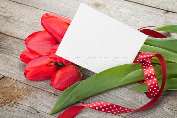 新鮮な チューリップ 花束 ブランクカード コピースペース 木製のテーブル ストックフォト © karandaev
