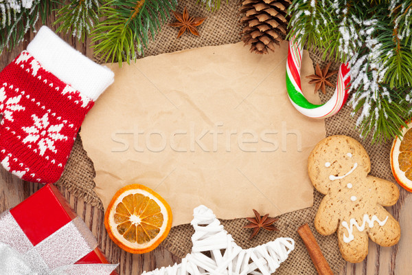Christmas food and decor with snow fir tree background Stock photo © karandaev