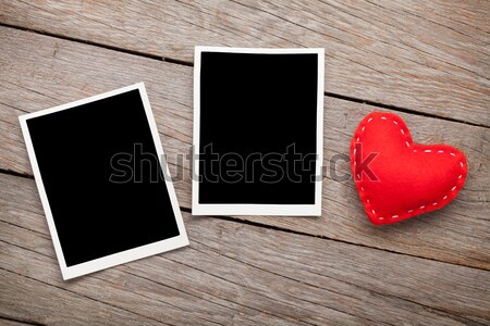 Two photo frames and valentines day toy heart Stock photo © karandaev