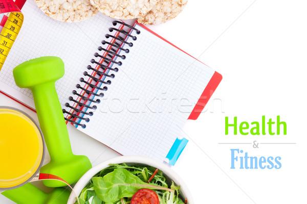 Mètre à ruban aliments sains notepad espace de copie fitness santé Photo stock © karandaev