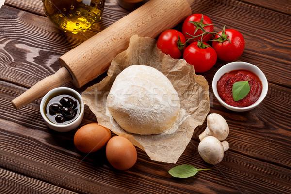 пиццы приготовления Ингредиенты овощей специи продовольствие Сток-фото © karandaev