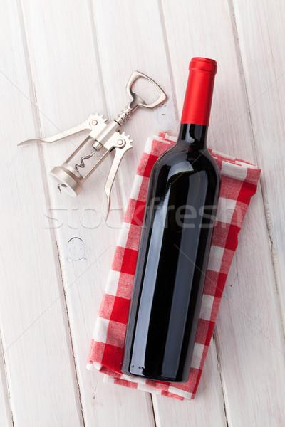 赤ワイン ボトル コークスクリュー 白 木製のテーブル 食品 ストックフォト © karandaev