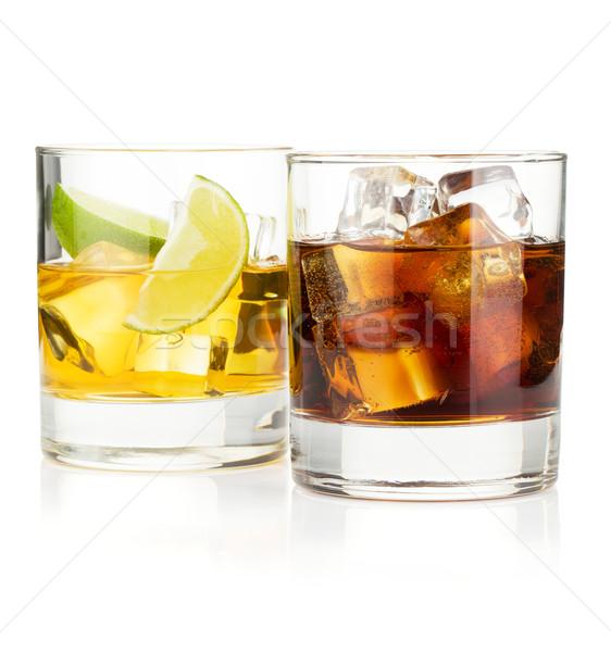 Whiskey kóla koktélok izolált fehér étel Stock fotó © karandaev