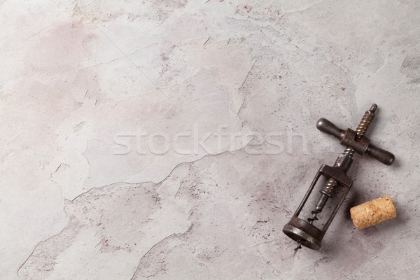 Vintage corkscrew on stone Stock photo © karandaev